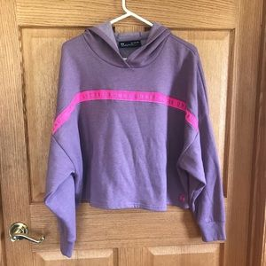 Under Armour, purple, cropped, hood sweater